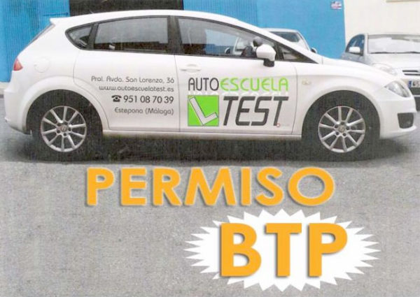 Autoescuela Test Permiso de conducir BTP en Estepona