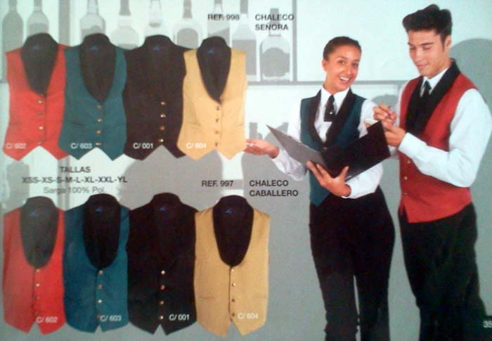 Chalecos complementos para uniformes de hostelería